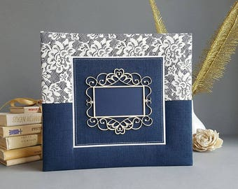 Royal Blue, handmade photo album