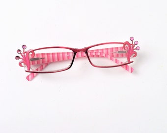 Reading glasses with crystals, +1.50, Pink