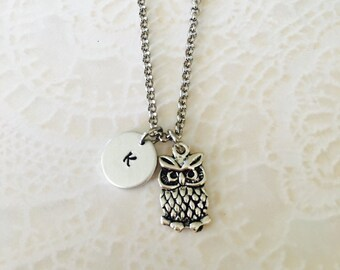 Personalized initial Owl necklace hand stamped jewelry charm necklace peanut pendant