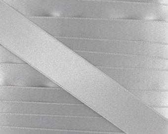 Satin ribbon / grey / 10mm cut 50cm width