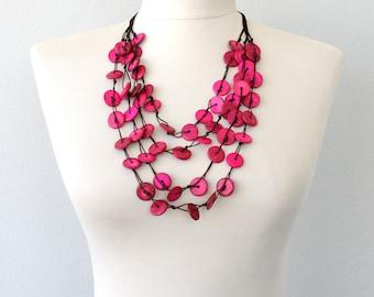 Hot pink necklace statement necklace magenta necklace multi strand necklace coconut beaded necklace pink summer necklace pink gift for her