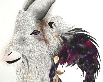 "Goat Totem 16"" x 20""  Watercolor Illustration"