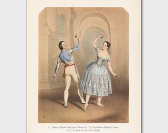 """Ballet Art, Vintage Ballet Print (Antique Home Decor, 1940s Dance Lithograph) --- """"Danseur and Danseuse"""""""