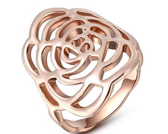 Gold-plated rose ring