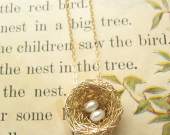 Bird Nest Necklace, Two Pearls, Gold Wire Precious Meshes