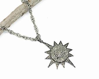 ON SALE Pave Diamond sunburst/ star Pendant charm necklaces  set in sterling silver(92.5). Length- 1.75 inch. Carat wt-1.39. Authentic diamo