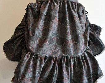Skirt mid-length Steampunk taffetas bohemian (blue)