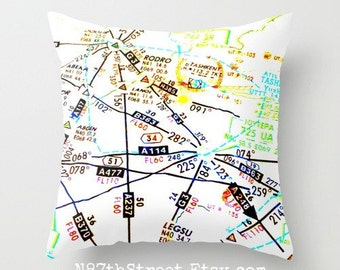 "FLIGHT MAP 16"" X 16"" Pillow Cover. Photo Art by TMCdesigns. Airplane. Travel. Pilot. Airlines. International. Bright colors. Funky. Teens."