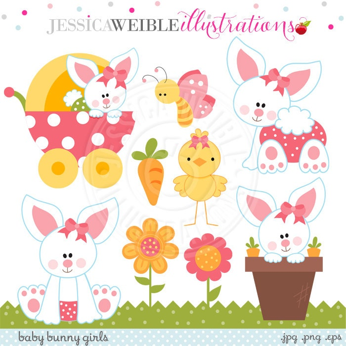 Baby Bunny Girls Cute Digital Clipart Easter