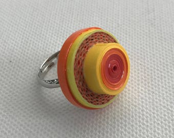 Paper jewellery. Paper ring. Eco friendly jewelry. Orange and yellow adjustable ring.
