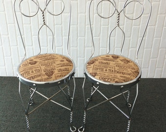 Superbe Chrome Wire Ice Cream Parlor Chairs/Soda Shop Chairs