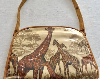 Vintage 1970's Authentic Period Prop / Shoulder Bag / Giraffe / Zebra / Jungle / African Safari Purse