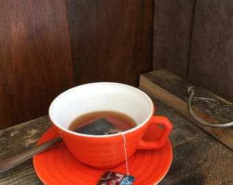 Fake Cup Tea Hand Crafted Orange Teacup Photo Prop Home Staging