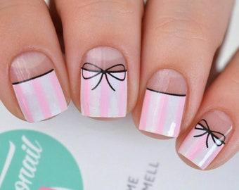 Stripe Bow (Victoria Secret Print) Nail Wraps