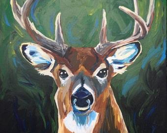 Deer art, deer decor.  White tail deer print from original deer painting