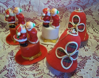 Five Vintage Flocked Chrismas Ornaments