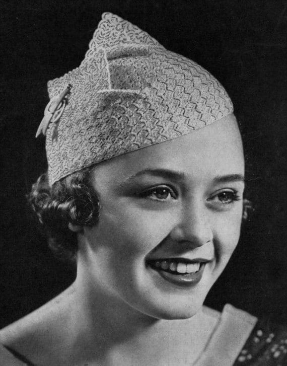 Geflügelte Barett Vintage 1930er Jahre häkeln Hut Muster