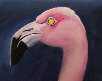 Flamingo in Profile - original daily painting by Kellie Marian Hill