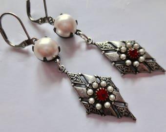 Art Deco earrings Edwardian earrings vintage style 1920s Art Nouveau earrings pearl and ruby crystal long silver earrings