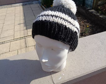 child Hat Black and ecru wool and alpaca