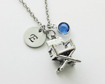 Director's Chair Necklace, Movie, Film Student Gift, Swarovski Birthstone Jewelry Silver Initial Personalized Monogram Hand Stamped Letter