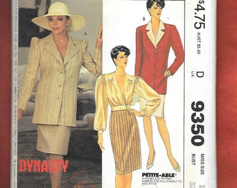 Retro 80's McCall's 9350 Misses' Dynasty Collection By Joan Collins, Wiggle Skirt, Blouse, And Tunic Length Jacket, Size 10, UNCUT