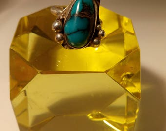 Sterling silver Azurite stone ring.