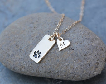 Pet Love Necklace with Initial -Tiny dog or cat paw print and heart charms- bronze and gold- hand stamped memory charm -free shipping USA