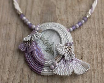 "Bead Embroidered ""Frozen Leaves"" Necklace with Glass Cabochon and Gingko Leaves"