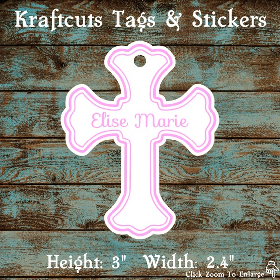 Favor or Gift Tags - Baptism Cross Tag Pink Large #200P - Quantity: 20 Tags