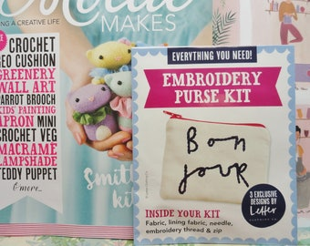 Mollie Makes, Handmade Crafts, MollieMakes Issue 78, Embroidery Purse Kit, New Mollie Makes Magazine