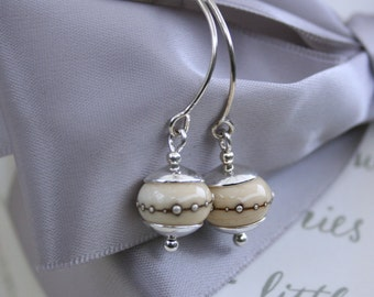 Ivory Lampwork bead and Sterling earrings
