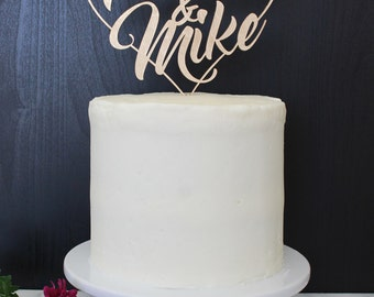 Personalized Names Heart Wedding Cake Topper | Custom Name