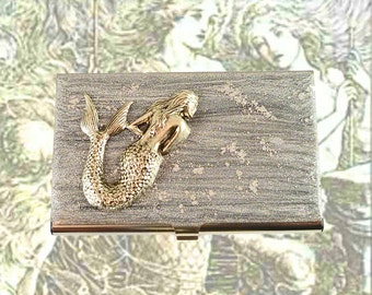 Mermaid Business Card Case Inlaid in Hand Painted Enamel Steampunk Sea Siren Metal Wallet Custom Colors and Personalized Options