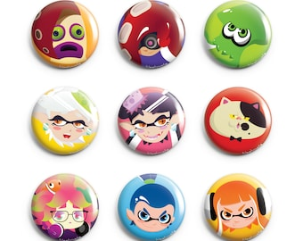 Splatoon Pins 9 Designs (Inkling Girl, Inkling Boy, Marie, Callie, Judd, Squid, Annie, Octoling, Octopus)