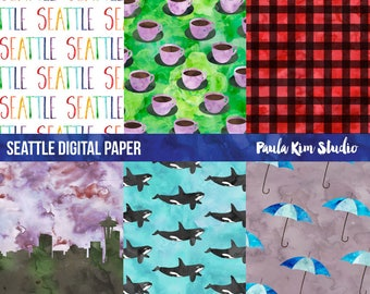Seattle Watercolor Digital Paper, Pacific Northwest Digital Paper Pack, Commercial Use