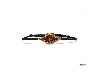 Macrame Eye Bracelet - Gold, Purple and Red - Baby / BEBG07
