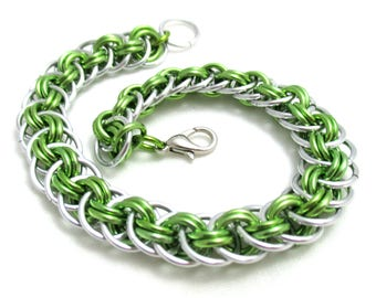 Lime Green Viperbasket Chainmaille Bracelet - Lime Green Chain Maille Bracelet - Chain Bracelet