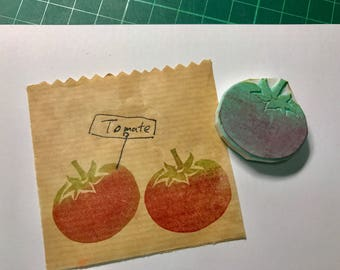 Tomate hand carved rubber stamp- cooking rubber stamp