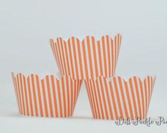 Orange and White Stripe Mini Cupcake Wraps - Set of 24