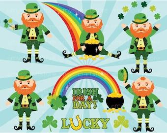 Clipart - St. Patrick's Day / St Paddy's Day / Leprechaun - clovers, rainbows, pot of gold, lucky Irish, word art, vector clipart