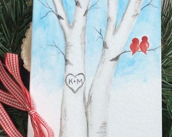 Custom Anniversary Card for Husband/Wife/Fiancé/Loved One. Original Watercolor. Love birds/Birch tree/heart/initials. Hand-painted Card