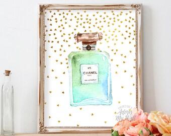 Chanel, coco chanel no 5, poster, print, no5, perfume bottle art, watercolor, chanel no 5 print, 8x10