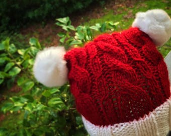 Hand knitted Santa Hat with Pom Poms