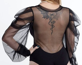 Sheer Top, Sheer Bodysuit, Mesh Bodysuit, See Through Leotard, Steampunk Clothing, Women Bodysuit, Gothic Clothing, Black Bodysuit Women