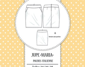 "Pack 3 sizes - T34, T36 and T38 - pattern skirt ""Maria"""