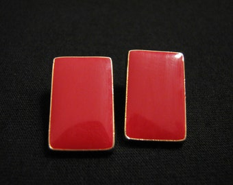 Vintage Gold Tone and Red Enameled Square Pierced Earrings