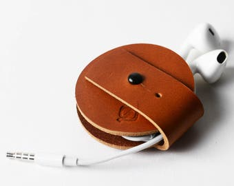 leather cable cord organiser headphone case leather holder earphone holder organiser cable and earphone case