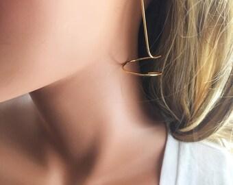 Gold Cork Screw Earrings // Gold Plated Bar Stick Earrings // Modern Post Dangle Bar  Earrings // Bar Post Earrings // Corkscrew Earrings