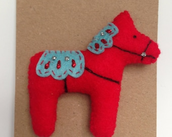 FELT BROOCH Scandi Horse